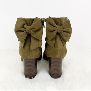 Torrid | Ankle Booties Heels Bow Detail Green WIDE